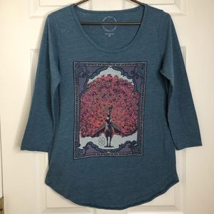Lucky Brand Peacock Blue Graphic Tee Size Medium